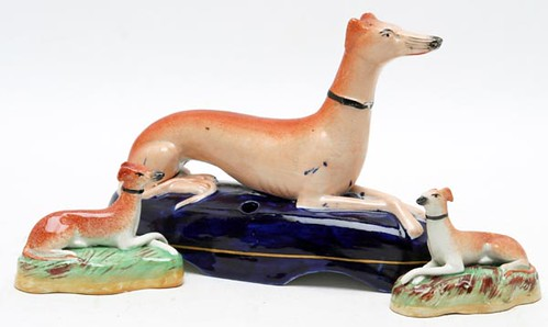 Staffordshire Whippet Porcelain Inkwell ($123.20)