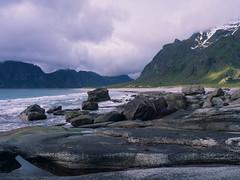 Uttakleiv beach (JaZ99wro) Tags: 645 e100g e6 f0324 fiord mamiya645protl norway norwegia opticfilm120 tetenal3bathkit analog beach clouds exif4film film rocks water