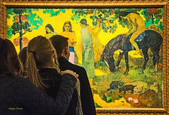 Gaugin at the Vuitton (albyn.davis) Tags: art gaugin colors colorful bright vivid vibrant painting museum people paris france europe vuitton green yellow travel visitors light glow