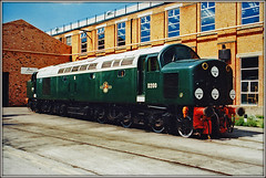 D200, Crewe Works (Jason 87030) Tags: d200 40122 whistler englishelectric zc creweworks openday may 2000 green br britishrail engine loco locomotive wheels transport foundry buildigns shot sunny weather nose discs emblem livery railways train tren diesel print scan 35mm frame border