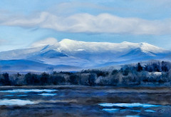 Winter Blues (Terry Pellmar) Tags: texture digitalart digitalpainting vermont hills snow blue landscape