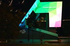 ICS - Night shot - Entrance of exhibition centre Autumn 2017 (nicephotog) Tags: ics forecourt courtyard sydney haymarket cbd ultimo entrance building lights night colour color conventioncentre