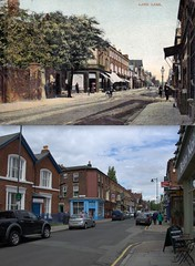 Lark Lane, Aigburth, 1905 and 2013 (Keithjones84) Tags: merseyside history localhistory thenandnow city park aigburth seftonpark liverpool oldliverpool old oldphotos rephotography