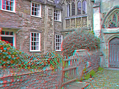 Wells in 3d (Somerset Bloke) Tags: city england 3d cathedral gothic wells somerset anaglyph vicarsclose smallestcityinengland