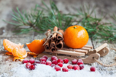 Christmas card: mandarin, cinnamon, sleds, cranberries, snow (TatyanaTitova) Tags: christmas new xmas winter orange white holiday snow detail tree green up pine tangerine fruit composition design wooden berry december branch close flavor symbol cone decorative cinnamon background postcard traditional text year spice group decoration celebration event card cranberries fir mandarin citrus oranges concept ornate decor sleds aroma mandarines