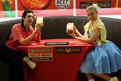 Sandy & Danny American Vintage '50s Life 01 (HAMACHI!) Tags: boy party portrait food girl japan tokyo sandy diner mcdonalds event american hamburger danny fujifilm 50s campaign 2014 xm1 xc1650mmf3556ois mcdonaldsamericanvintage50s
