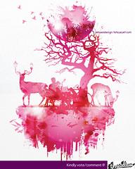 Secret Garden (Jema) Tags: pink lake love lamp birds animal garden couple sweet girly secret valentine deer lamppost koi lovely threadless secretgarden lakegarden gardenlamp jemae tatayeyet jemaesdesign
