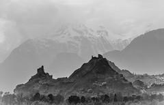 Neighbourhood (Maike B) Tags: schnee snow mountains alps castle schweiz switzerland blackwhite berge alpen neighbourhood burg ruinen nachbarschaft burgen lostplace schwarzweis rhonetal nikond7000 tamronaf70300mm456dispvcusd