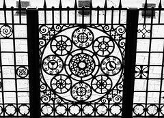 Iron Work In Front of Church of the Agony (marylea) Tags: blackandwhite bw architecture israel blackwhite jerusalem ironwork may13 byzantine mountofolives 2015 gardenofgethsemane churchofallnations churchoftheagony antoniobarluzzi