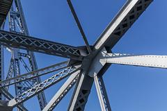 Duluth Lift Bridge Trusses and Support Beams (JohnColeUSA) Tags: bridge geometric up minnesota architecture harbor angle steel perspective line diagonal beam infrastructure lakesuperior hanger girder sloping liftbridge duluthmn truss slanting aerialbridge buildingstructure duluthliftbridge