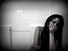 Sorrow 088-edit (Madison Kali) Tags: portrait blackandwhite girl self shower sadness emotion sorrow
