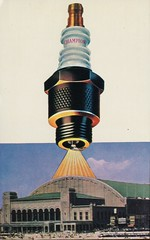 Champion, World's Favourite Spark Plug, A.S.I. Show Headquarters, Atlantic City, NJ (SwellMap) Tags: industry vintage advertising design flying pc 60s technology fifties satellite postcard suburbia style kitsch science ufo retro nostalgia chrome americana spaceship 50s googie populuxe sixties extraterrestrial saucer babyboomer consumer coldwar midcentury spaceage atomicage