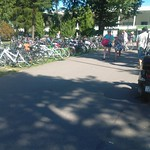 Lots and lots of bicycles at the swimming stadium thumbnail