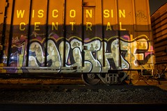 YUTHE (TheLost&Found) Tags: light urban art minnesota wisconsin club night yard dark bench painting photography graffiti cool paint nocturnal painted exploring central minneapolis trains explore solo mission flashlight boxcar graff dudes freight cdc freights wcs benched yuthe
