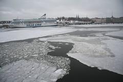Ice in the Finnish Gulf in Helsinki (RundgrenR) Tags: sea white ice water finland grey helsinki europe gulf cruising finnish siljaline 2013 edusta jtilanne rundgrenr suomenlaiva