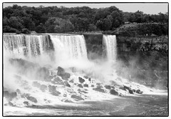 Niagara Falls (Little Alicia) Tags: travel vacation bw mist ontario canada tourism water river niagarafalls boat blackwhite landmark falls canadasday littlealicia canonpowershotelph100hs