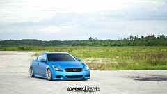 Alex's Bagged G37 for Lowered Lifestyle (Michael Raffia) Tags: blue cars wheel clouds landscape florida low wheels wrapped fl coupe g35 lowered matte infiniti stance wci g37 stanced watercooledind loweredlifestyle watercooledindustries itsawrapflorida
