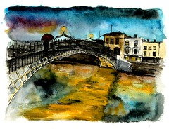 Dublin (Isolde Clynes) Tags: city bridge autumn ireland wedding sea dublin india elephant tree galway beach birds pen ink painting landscape island fishing sheep market fort delhi chinese lakes caves spices watercolour monkeys mumbai nets camels wexford cochin achill kochi inis elephanta bhopal clontarf oirr curracloe
