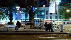 The bus rush. (lewist584) Tags: city longexposure light buses st bristol evening long exposure sony centre group bikes first trail local reach sainsburys 1855mm citycentre nex augustines firstgroup staugustinesreach sainsburyslocal emount nex5r sonynex5r