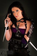 Sucker Punched Preview: Princess (Alt) (FightGuy Photography) Tags: leather necklace belt blueeyes armor weapon sword blade dagger brunette leatherarmor suckerpunched fightguyphotography fightguyphoto