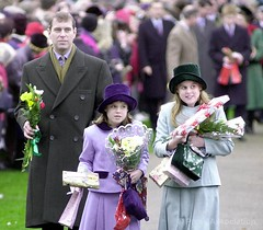 The Duke of York with Princess Beatrice and Princess Eugenie on Christmas Day (The British Monarchy) Tags: christmas church princess norfolk andrew sandringham service beatrice eugenie dukeofyork stmarymagdalene