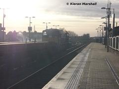 085 departs Portlaoise, 11/1/14 (hurricanemk1c) Tags: irish train gm rail railway trains railways irishrail generalmotors 2014 portlaoise 085 battleshipgrey emd 071 iarnród éireann railtrain iarnródéireann
