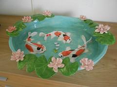 Ceramic koi fish bowl (Cuddly angel) Tags: orange white fish ceramic handmade bowl koi