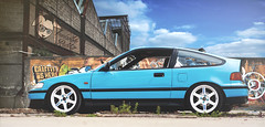 Graffiti is here (InvisibleRabbitPhotography) Tags: blue sky honda low daily crx hatch ef function grabber te37 vision:sky=0676 vision:car=0606 vision:outdoor=0977