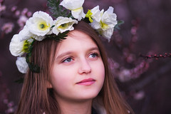 (wooggy) Tags: flowers trees portrait sunlight nature girl beautiful forest canon river hair crazy bright russia 14 makeup wreath curly brunette  rusian       fairytail    600d  85mm18    sigma35mm    tions          ktasnodar