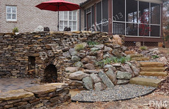 WM Dale Mitchell Landscape 4, Fire place, Flat work, Retaining wall, dry laid stone construction, copyright 2014