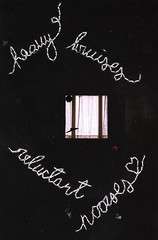 heavy bruises, reluctant nooses. (Cassandrea Xavier) Tags: film window thread vertical writing dark words poetry poem embroidery sew disposablecamera embroidered angst disposable teenage sewn embroider disposablefilm cassandreaxavier