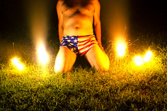 'murica (everything.glorious) Tags: longexposure nightphotography shirtless portrait male self surreal sparklers conceptual halfnaked shortshorts selfie runningshorts flagshorts
