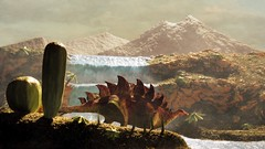 Prehistoric Landscape With Stegosaurus (miniature_photography) Tags: stegosaurus dinosaur landscape waterfall mountains miniature art cactus