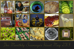 Monthly Scavenger Hunt May 2013 (Jo Z..Another Hot Day On The Mesa!!) Tags: cake fruit pie bread milk bacon tea photos mosaic cucumber salt meat grapes peas mustard pickles jam monthlyscavangerhunt may2013 nikond5100 2013ayearinphotos130365524