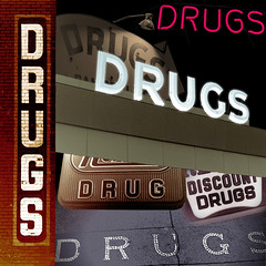 Plentiful Drugs (fillzees) Tags: street building brick sign collage composite night vintage word neon pavement mashup retro pharmacy drug fx drugstore eclectic chemist vividimagination visualmashups altrafotografia