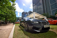 BMW M6 Gran Coupe (DaveJC90) Tags: camera new city morning blue light summer sky cloud sun sunlight colour detail building slr london beautiful car june architecture modern skyscraper square lens french italian nikon european colours afternoon estate angle display cloudy weekend capital wide railway sunny convertible sharp german american crop highrise docklands british hatch 1020mm canarywharf saloon coupe dlr dull motorsport hatchback bankstreet manufacturer motoring croped sharpness canadasquare isleofdogs cabotsquare d40 motorexpo upperbankstreet