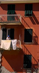 Laundry & Lines, Monterosso, Cinque Terre, Italy (Photography By Laurice Marier) Tags: shadow italy orange man building home lines diagonal laundry shutter cinqueterre monterosso