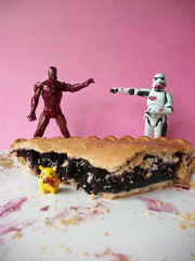Okay, Who Ate The Pie? (darkkittykat) Tags: pink food pie dessert toy toys actionfigure starwars plate ironman blueberry stormtrooper pikachu pokemon thelittlestpikachu