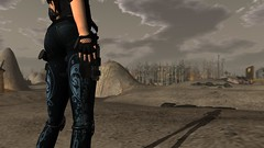 The Outlands (alexandriabrangwin) Tags: road woman max alexandria computer 3d graphics desert post badass apocalypse goddess secondlife virtual pistol warrior mad maxine cgi brangwin