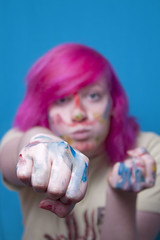 Punch it! (Jessica Warby) Tags: pink blue girls paint punch
