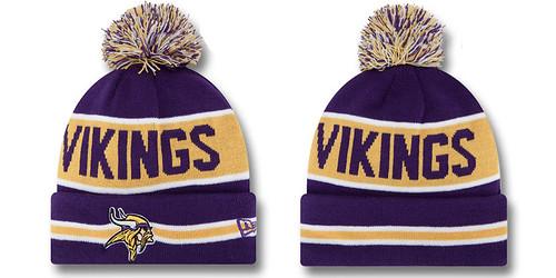 590c8517809 Minnesota Vikings Beanie Hat NFL New Era Knit Pom Caps THE COACH
