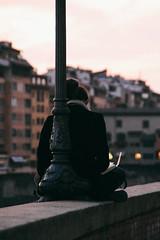 Arno (alexwaah) Tags: city italy film girl canon river reading book florence italia riverside side fiume cit calm read leggendo shore firenze arno legge equilibrium