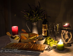 Christmas = Cheese and wine time! Roll on! (Thorne Photography) Tags: christmas cheese wine grapes candlelight crackers cheeseandwine