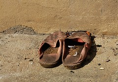 well worn (claredineen) Tags: old france feathers slippers