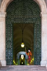 Swiss guard (Vatican city) (B.B. Wijdieks) Tags: city urban italy pope vatican rome roma gold warm italia pentax swiss faith guard vaticano da 28 bb rom paus 2010 k20d 1650mm wijdieks