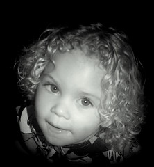 Chaya Goldilocks (The Groovster) Tags: portrait bw baby cute girl beautiful smile wales angel eyes toddler infant pretty eyelashes sweet gorgeous teeth cymru daughter curls lips blond cheeks chubby chaya mixedrace ringlets thegroovster