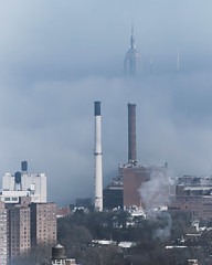 Smokestacks (Guillermo Murcia) Tags: nyc newyorkcity morning winter chimney urban usa newyork fog brooklyn america energy manhattan smoke foggy engineering midtown environment fortgreene stacks ventilation resources downtownbrooklyn capitaloftheworld guillermomurcia 2014week3
