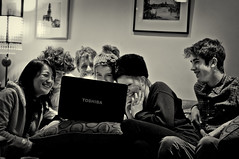 Smiley Happy People (Moorebig50) Tags: family friends blackandwhite smile happy laptop happypeople groupoffriends ilobsterit