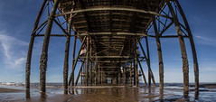 North Pier, Blackpool, Lancashire. (CWhatPhotos) Tags: pictures camera blue light sky sun fish eye beach water silhouette clouds digital pen reflections that lens lite four photography pier sand focus day skies foto with view image artistic cloudy pics ripple north under wide picture silhouettes pic olympus images lancashire fisheye have photographs photograph fotos micro below ripples manual rippled underneath 35 olympuspen which blackpool skys silhouetted fit contain 43 thirds lancs f35 75mm mft samyang esystem sanyang cwhatphotos epl5