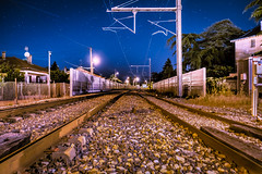 Railway in the middle of the night (Romu26) Tags: night lowlight railway sur romans voie ferrée drôme isère